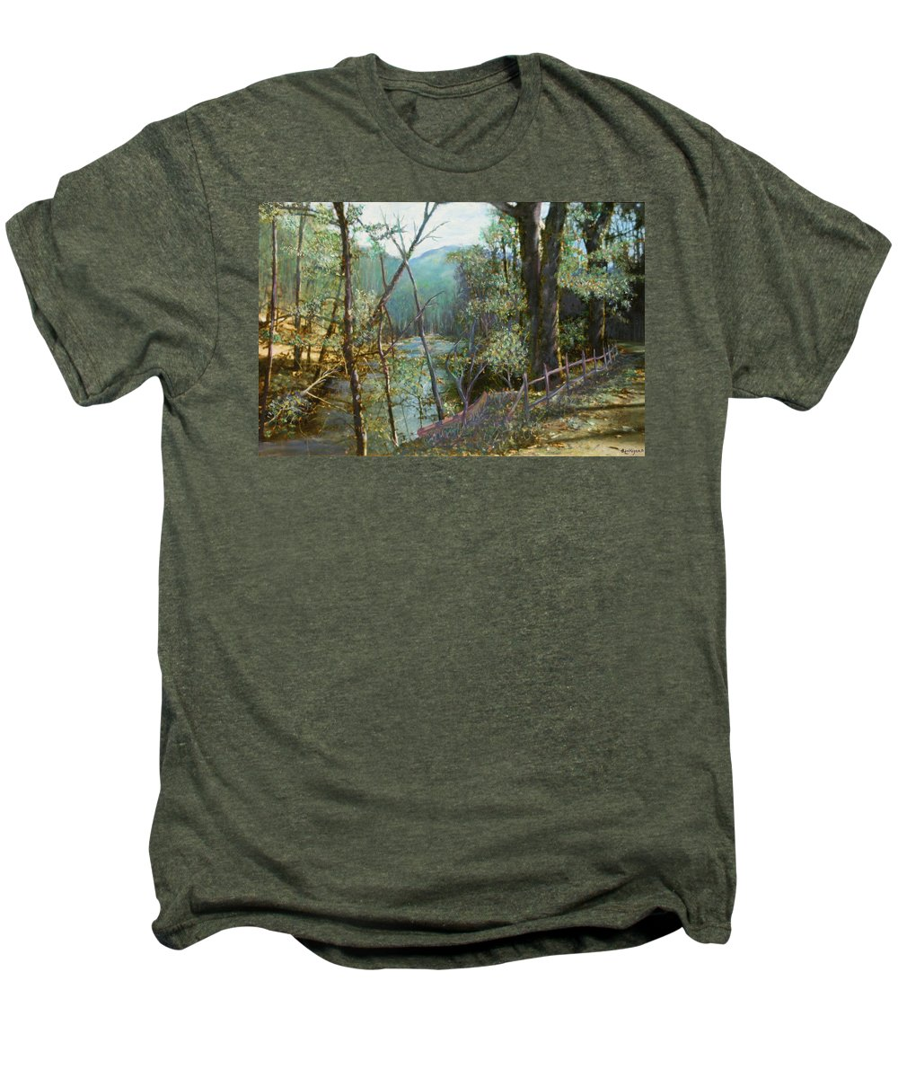 River; Trees; Landscape Men's Premium T-Shirt featuring the painting Old Man River by Ben Kiger