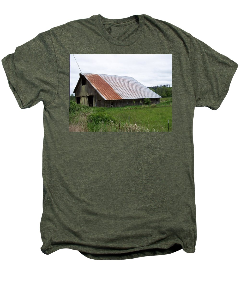 Barn Men's Premium T-Shirt featuring the photograph Old Tin Roof Barn Washington State by Laurie Kidd