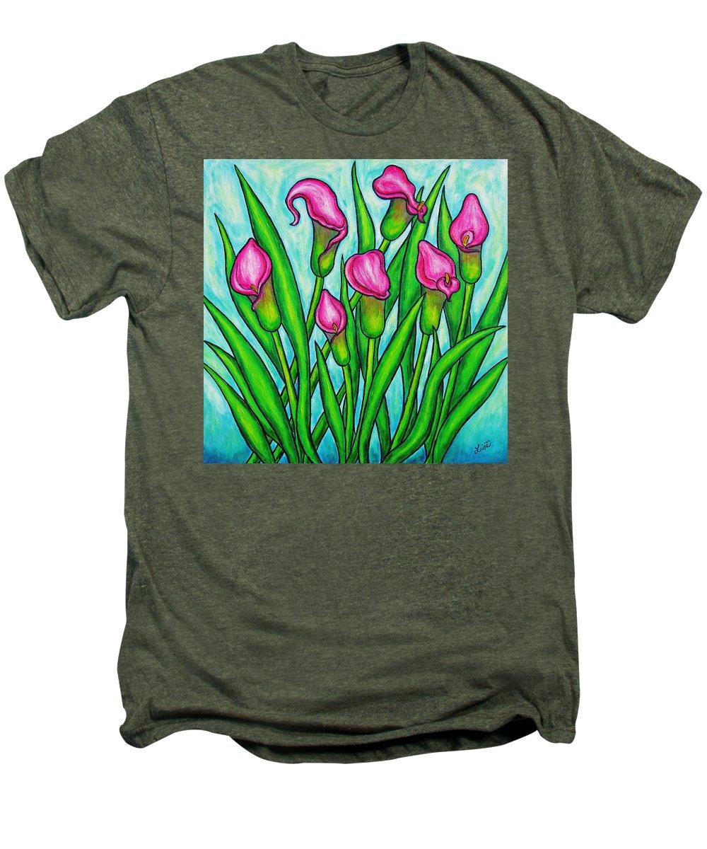 Lisa Lorenz Men's Premium T-Shirt featuring the painting Pink Ladies by Lisa Lorenz