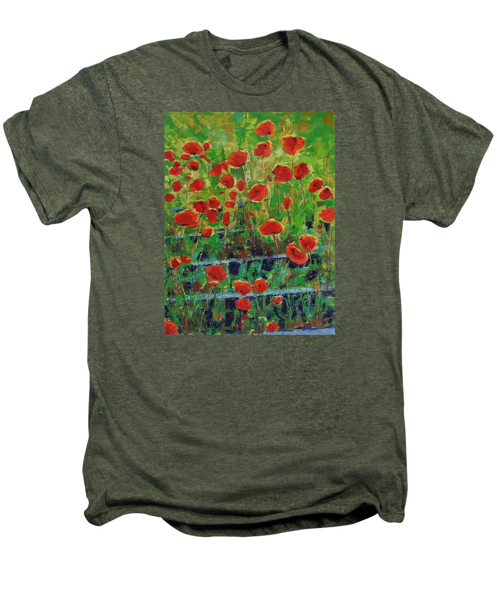 Poppies Men's Premium T-Shirt featuring the painting Poppies And Traverses 1 by Iliyan Bozhanov