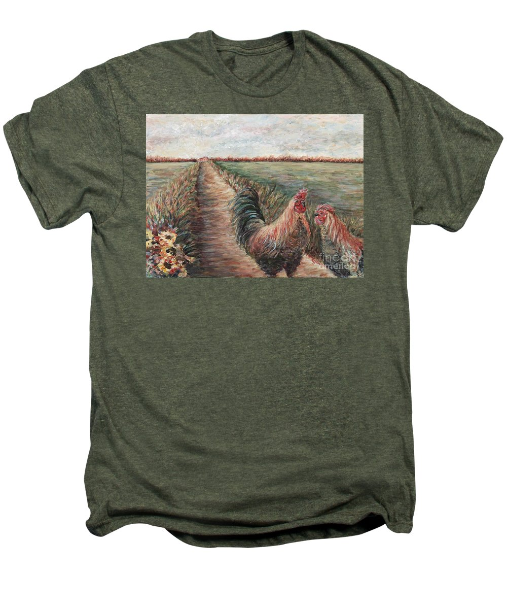 Provence Men's Premium T-Shirt featuring the painting Provence Roosters by Nadine Rippelmeyer