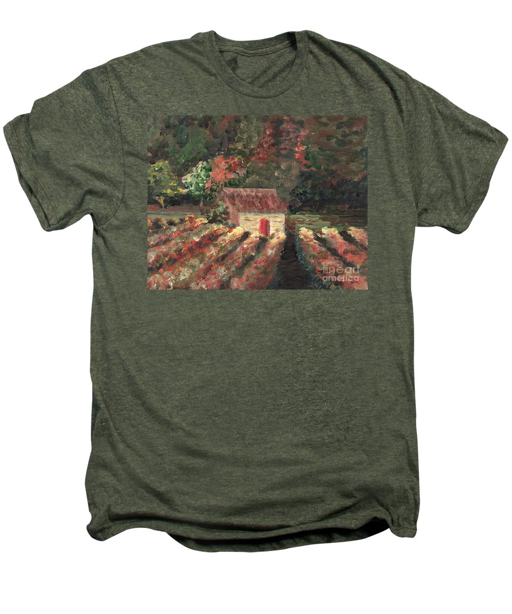 Landscape Men's Premium T-Shirt featuring the painting Provence Vineyard by Nadine Rippelmeyer