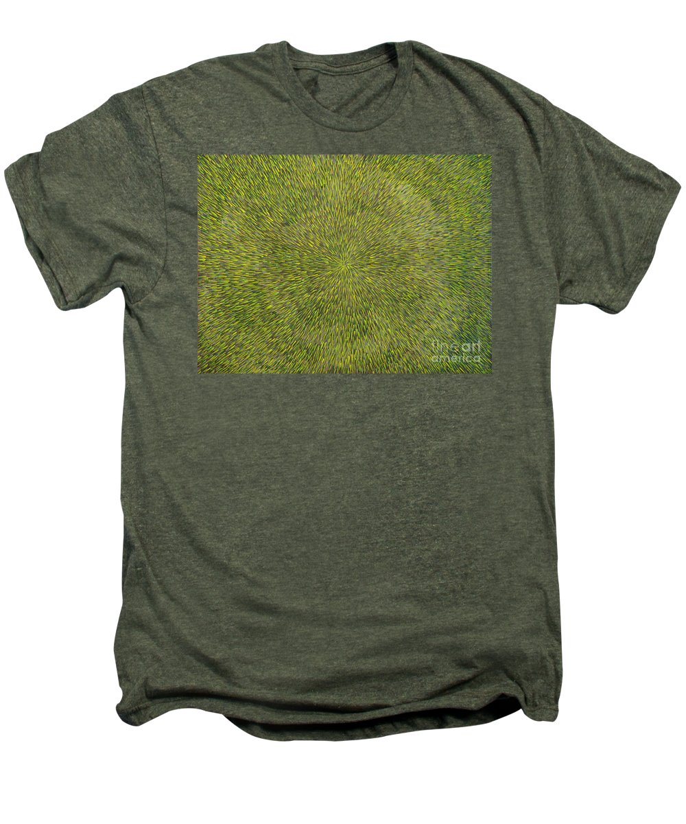 Abstract Men's Premium T-Shirt featuring the painting Radiation With Green With Yellow by Dean Triolo