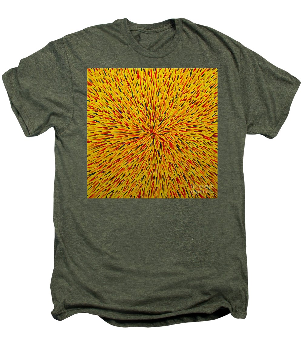 Abstract Men's Premium T-Shirt featuring the painting Radiation Yellow by Dean Triolo
