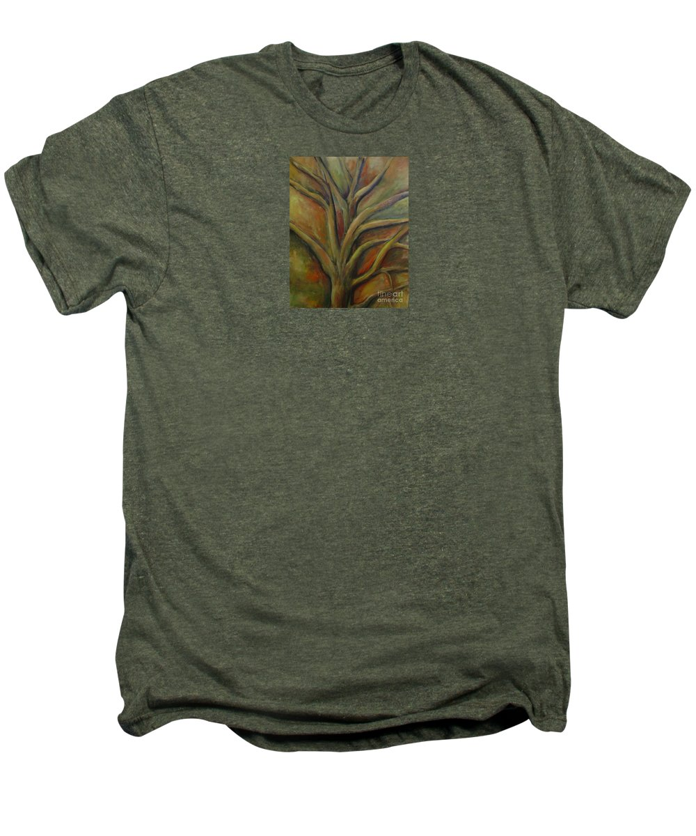 Tree Abstract Painting Expressionist Original Leila Atkinson Men's Premium T-Shirt featuring the painting Rapt by Leila Atkinson
