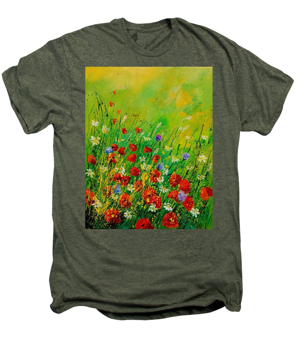 Flowers Men's Premium T-Shirt featuring the painting Red Poppies 450708 by Pol Ledent