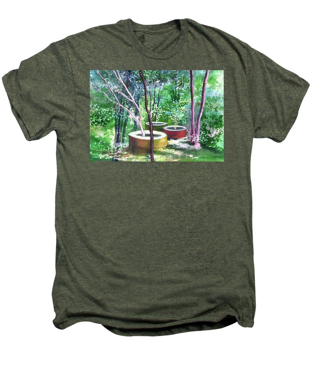 Opaque Landscape Men's Premium T-Shirt featuring the painting Relax Here by Anil Nene