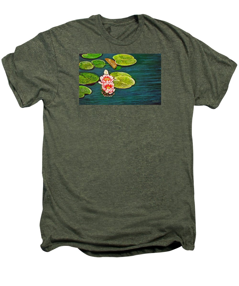 Water Lily Men's Premium T-Shirt featuring the painting Serenity by Michael Durst