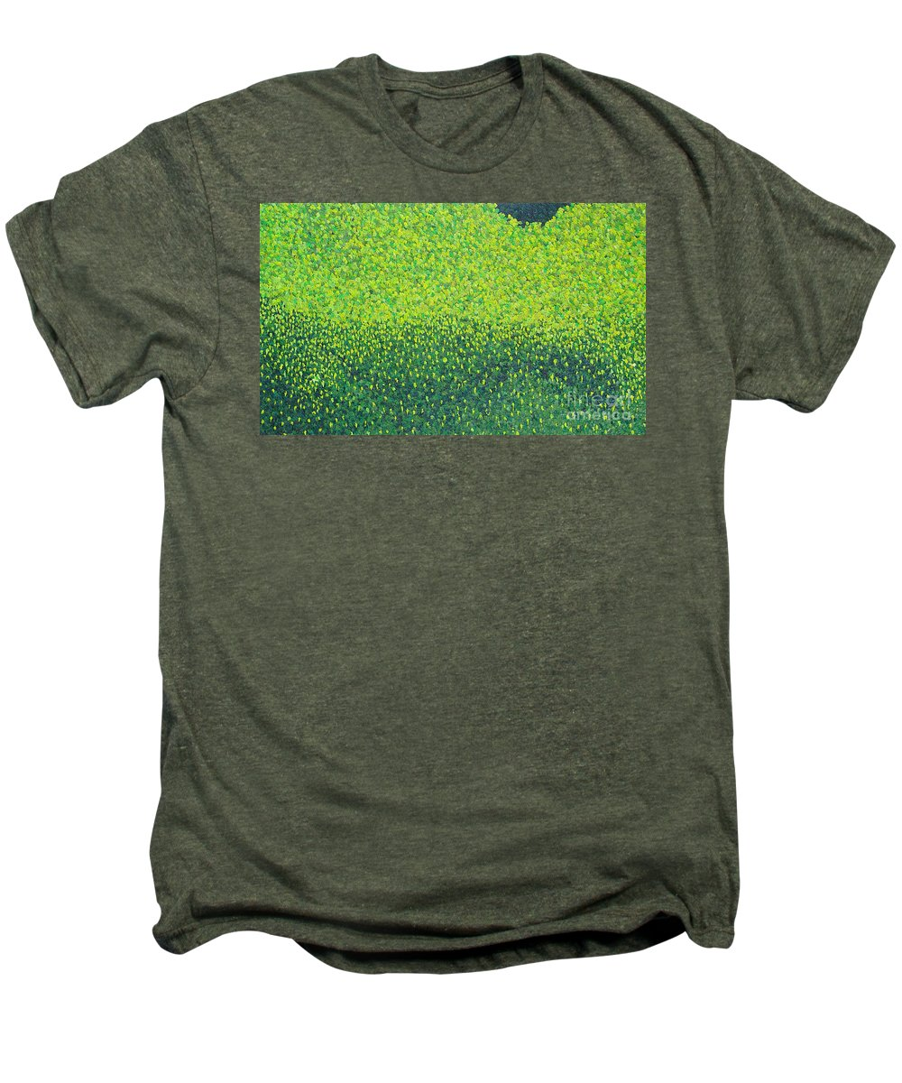 Abstract Men's Premium T-Shirt featuring the painting Soft Green Wet Trees by Dean Triolo
