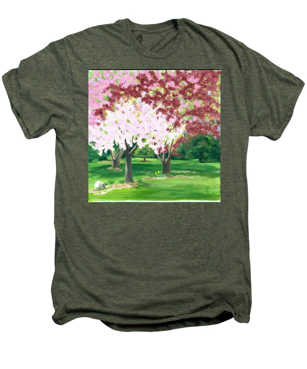 Spring Men's Premium T-Shirt featuring the painting Spring At Osage Land Trust by Paula Emery