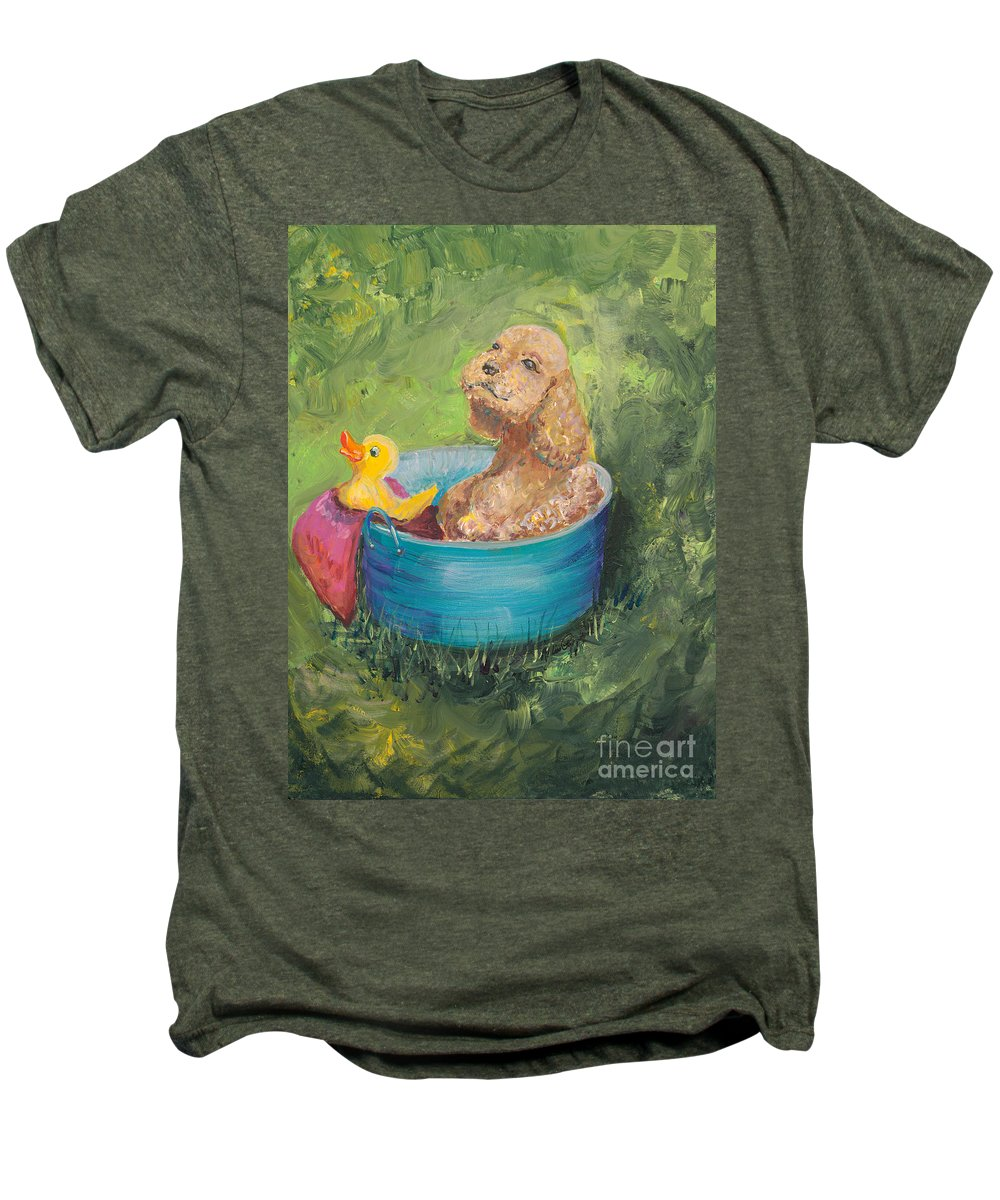 Dog Men's Premium T-Shirt featuring the painting Summer Fun by Nadine Rippelmeyer