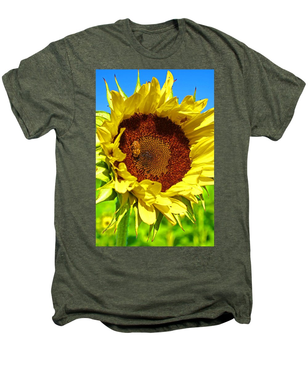Pastoral Men's Premium T-Shirt featuring the photograph Sunflower And Bee by Heather Coen
