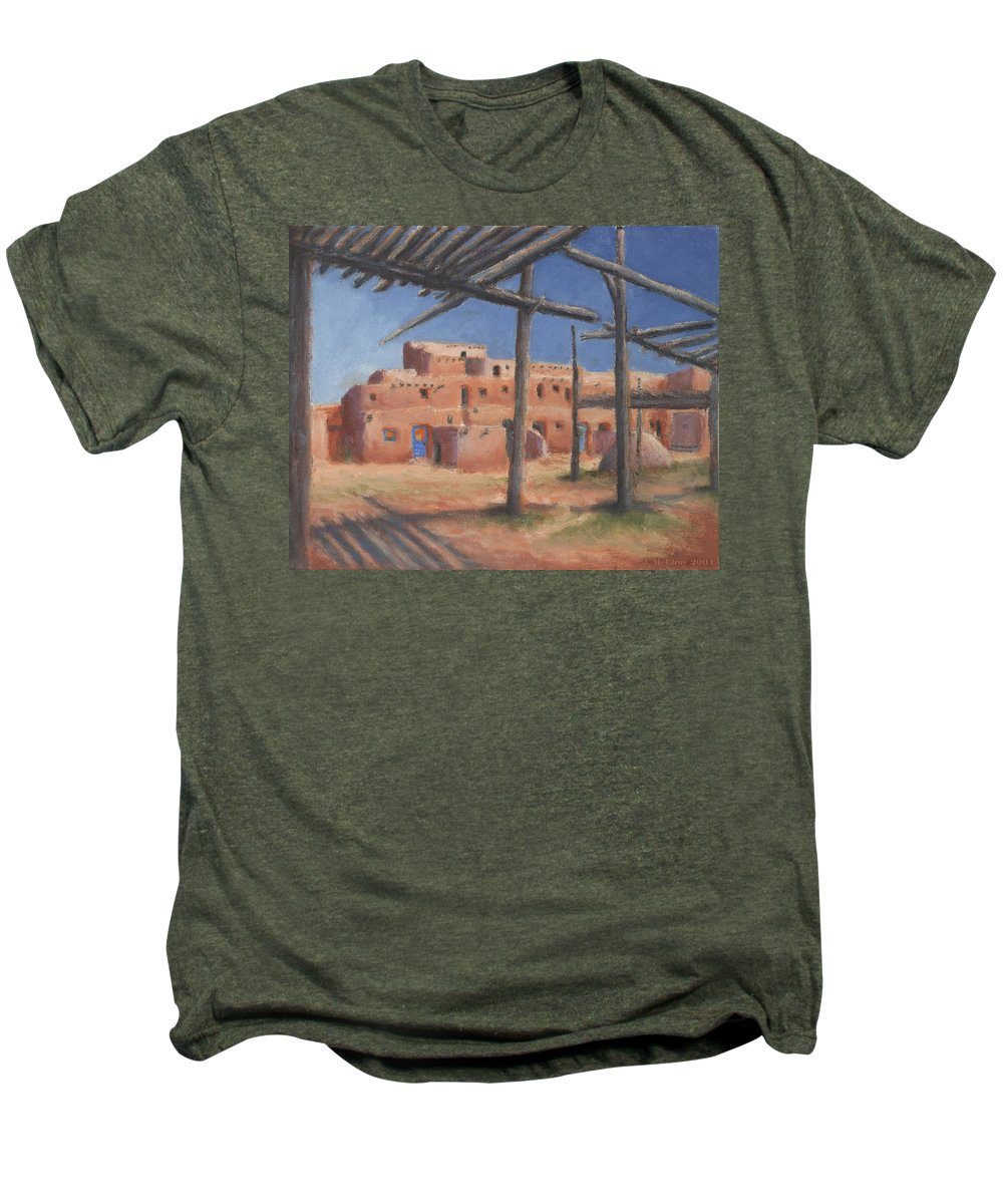 Taos Men's Premium T-Shirt featuring the painting Taos Pueblo by Jerry McElroy
