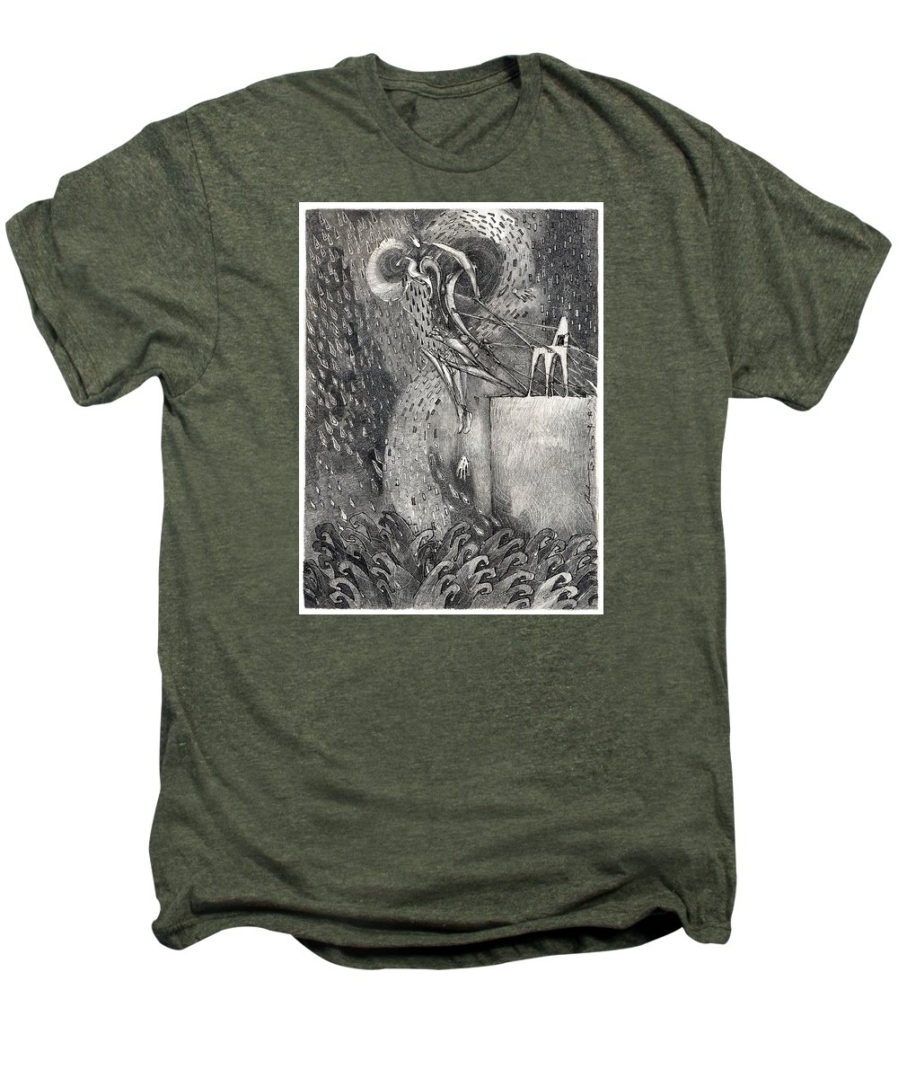 Leap Men's Premium T-Shirt featuring the drawing The Leap by Juel Grant