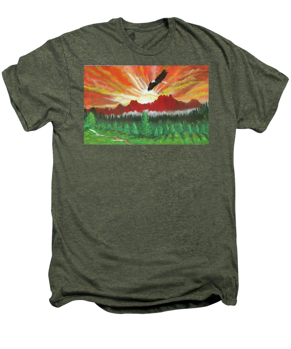 Acrylic Men's Premium T-Shirt featuring the painting They That Wait Upon The Lord  Isa 40 31 by Laurie Kidd