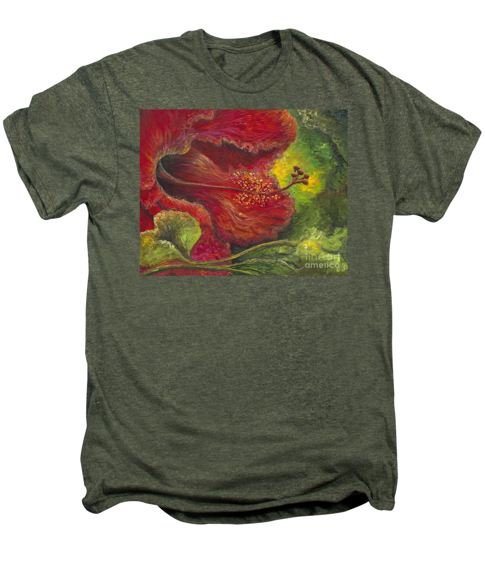 Flowers Men's Premium T-Shirt featuring the painting Tropical Hibiscus by Nadine Rippelmeyer