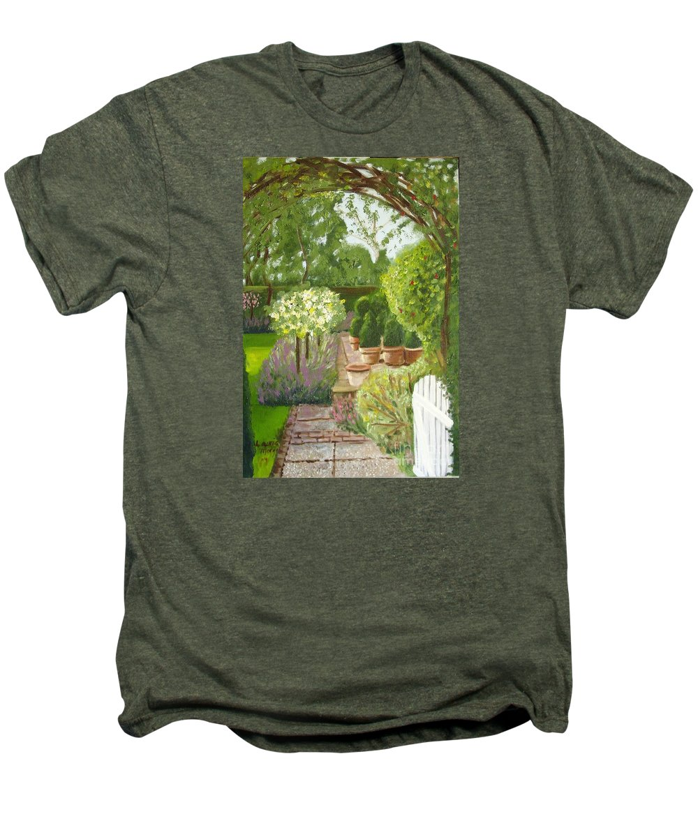 Garden Men's Premium T-Shirt featuring the painting Walk With Me by Laurie Morgan