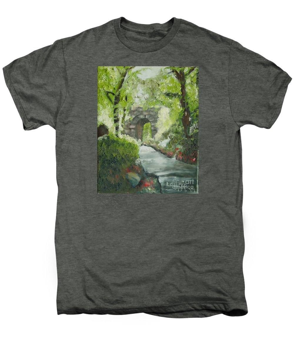 New York Men's Premium T-Shirt featuring the painting Archway In Central Park by Laurie Morgan