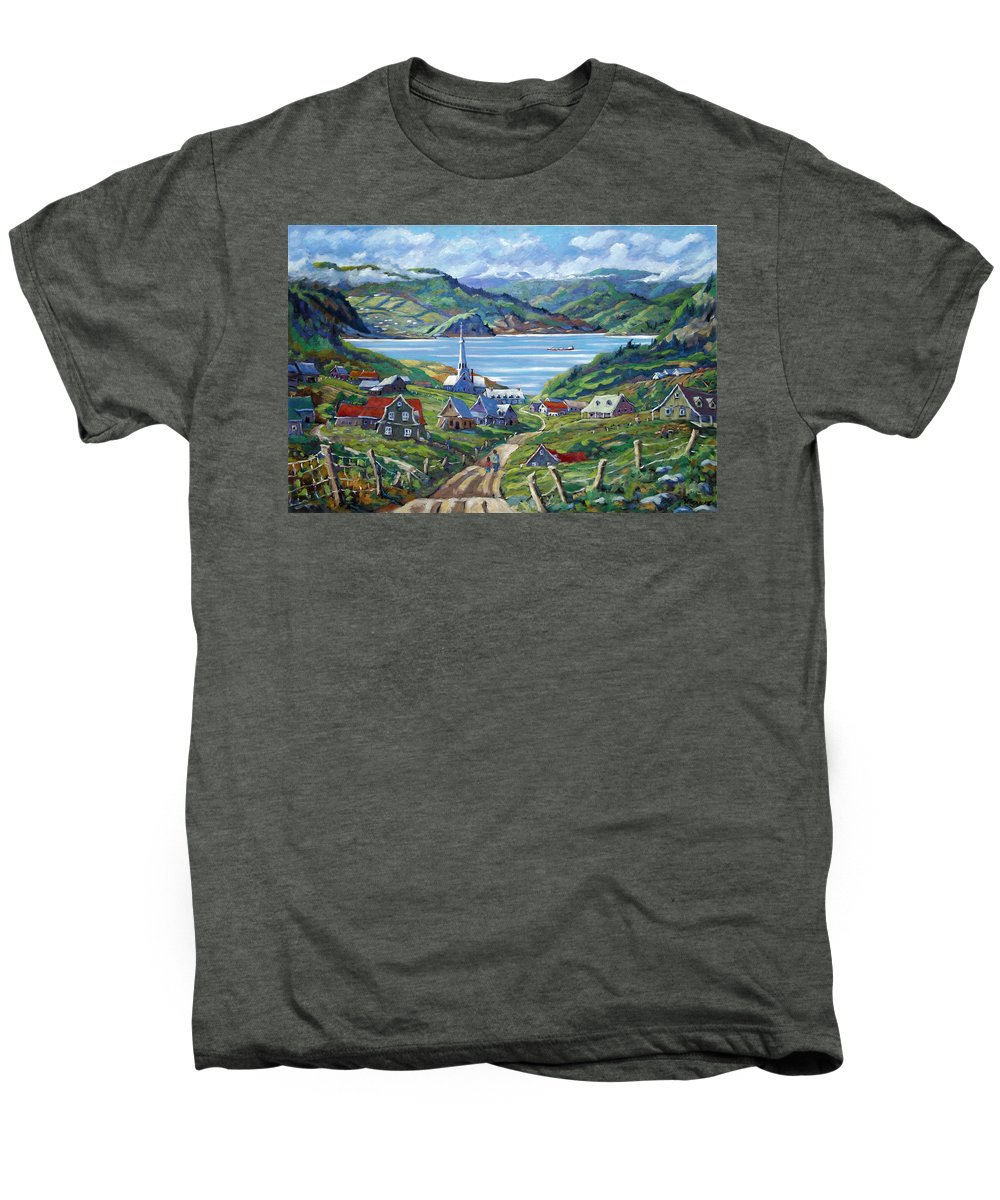 Men's Premium T-Shirt featuring the painting Charlevoix Scene by Richard T Pranke
