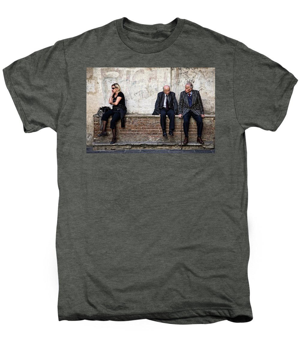 Street Photography Men's Premium T-Shirt featuring the photograph Communication by Dave Bowman