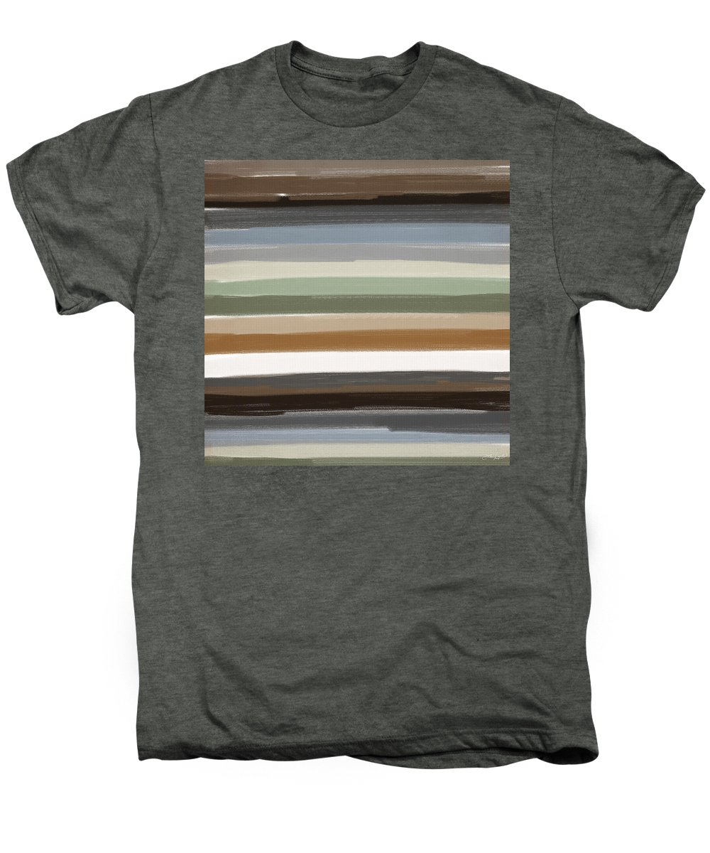 Charcoal Gray Men's Premium T-Shirt featuring the painting Earth Colors by Lourry Legarde