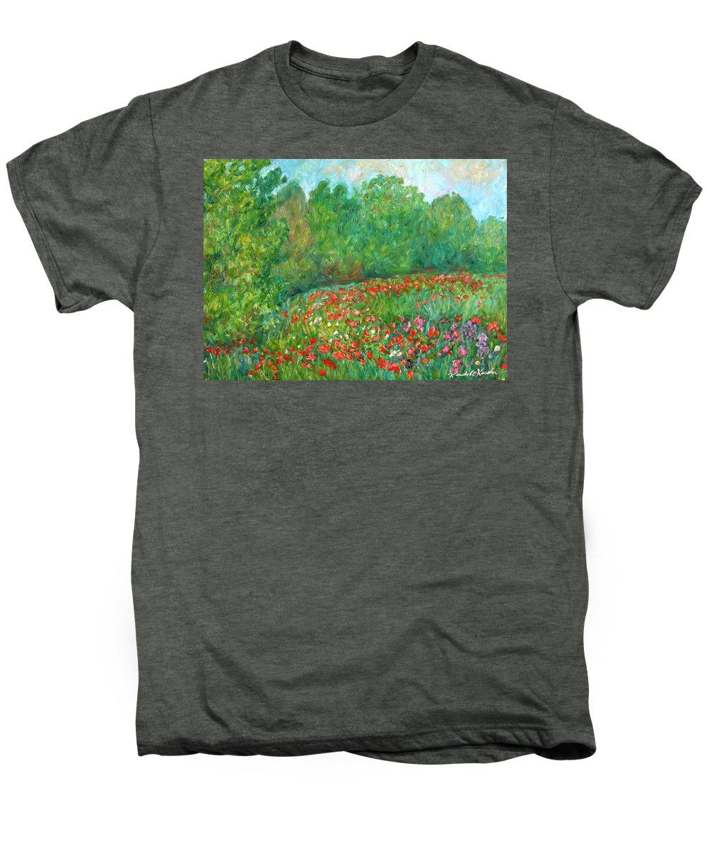 Blue Ridge Paintings Men's Premium T-Shirt featuring the painting Flower Field by Kendall Kessler