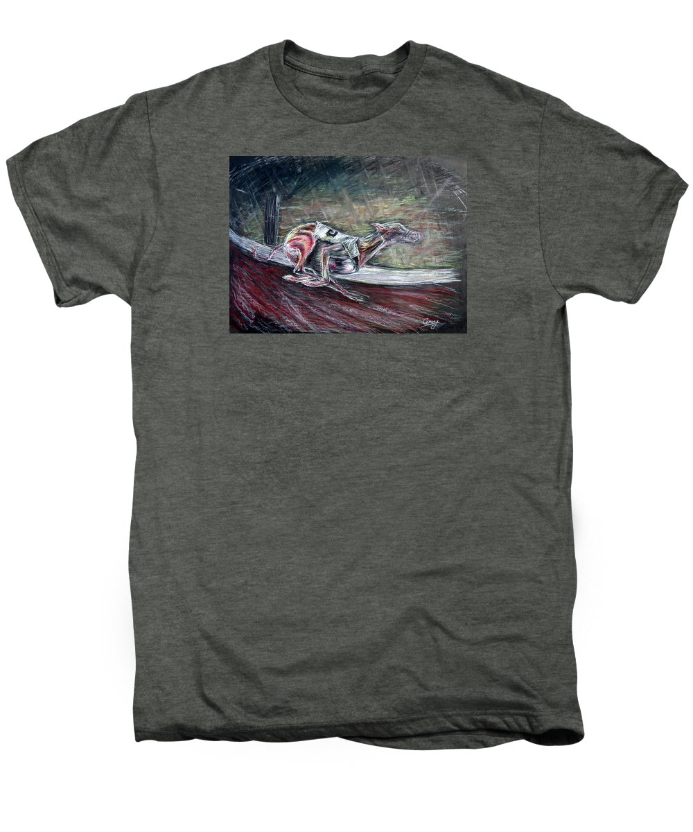Dog Men's Premium T-Shirt featuring the drawing Greyhound Number Three by Tom Conway