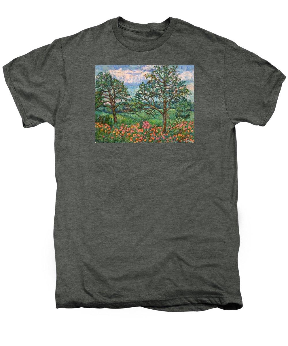 Landscape Men's Premium T-Shirt featuring the painting Kraft Avenue In Blacksburg by Kendall Kessler