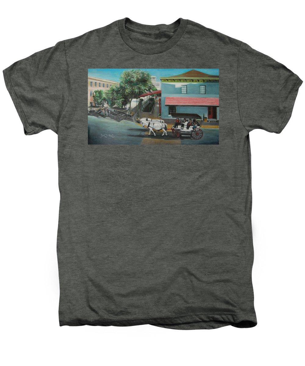 Men's Premium T-Shirt featuring the painting Savannah City Market by Jude Darrien