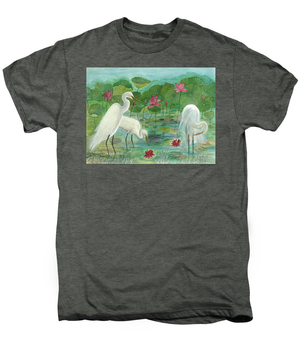 Lily Pads; Egrets; Low Country Men's Premium T-Shirt featuring the painting Summer Trilogy by Ben Kiger