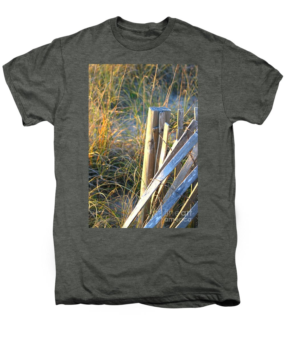 Post Men's Premium T-Shirt featuring the photograph Wooden Post And Fence At The Beach by Nadine Rippelmeyer