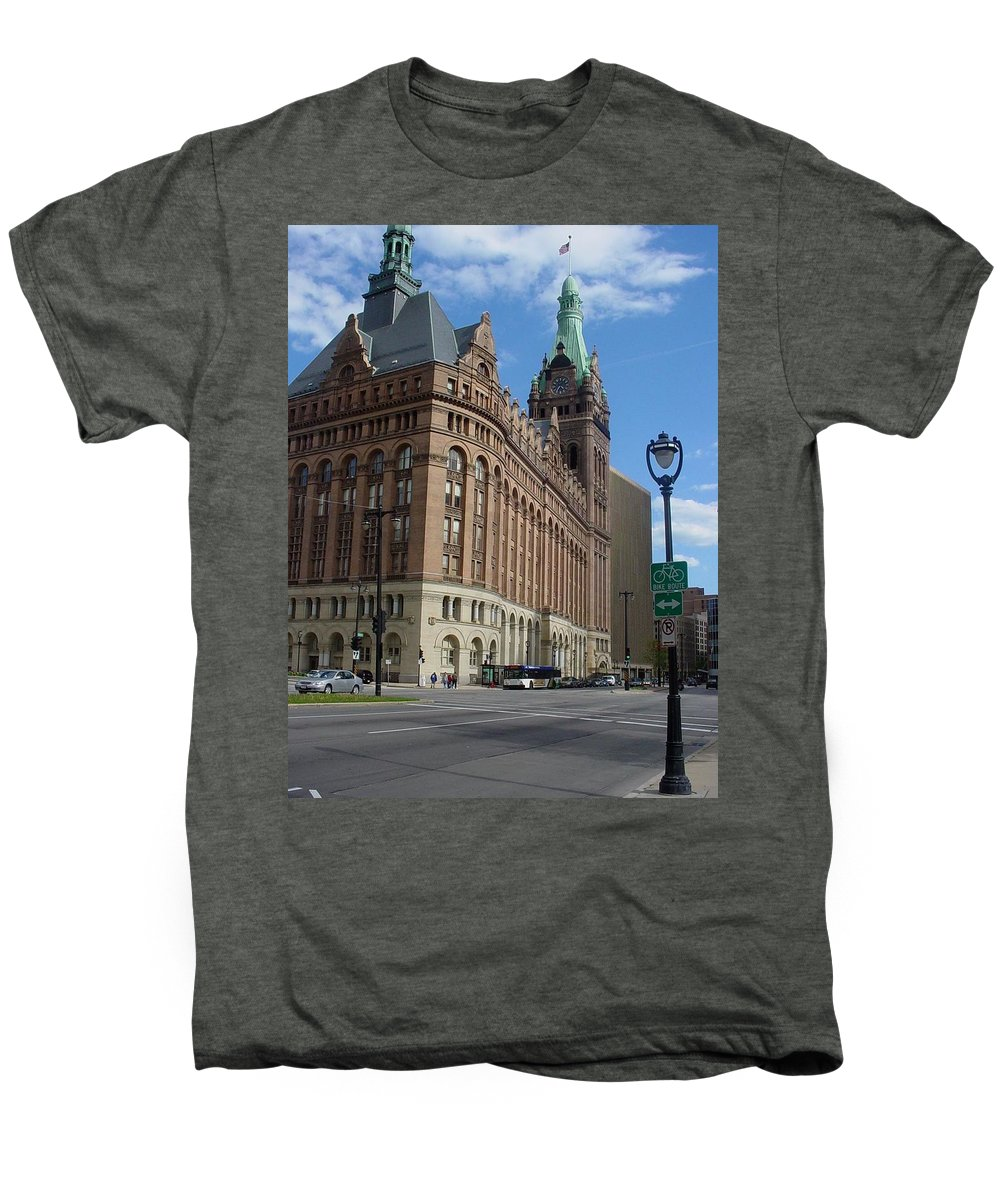 Milwaukee Men's Premium T-Shirt featuring the photograph City Hall And Lamp Post by Anita Burgermeister
