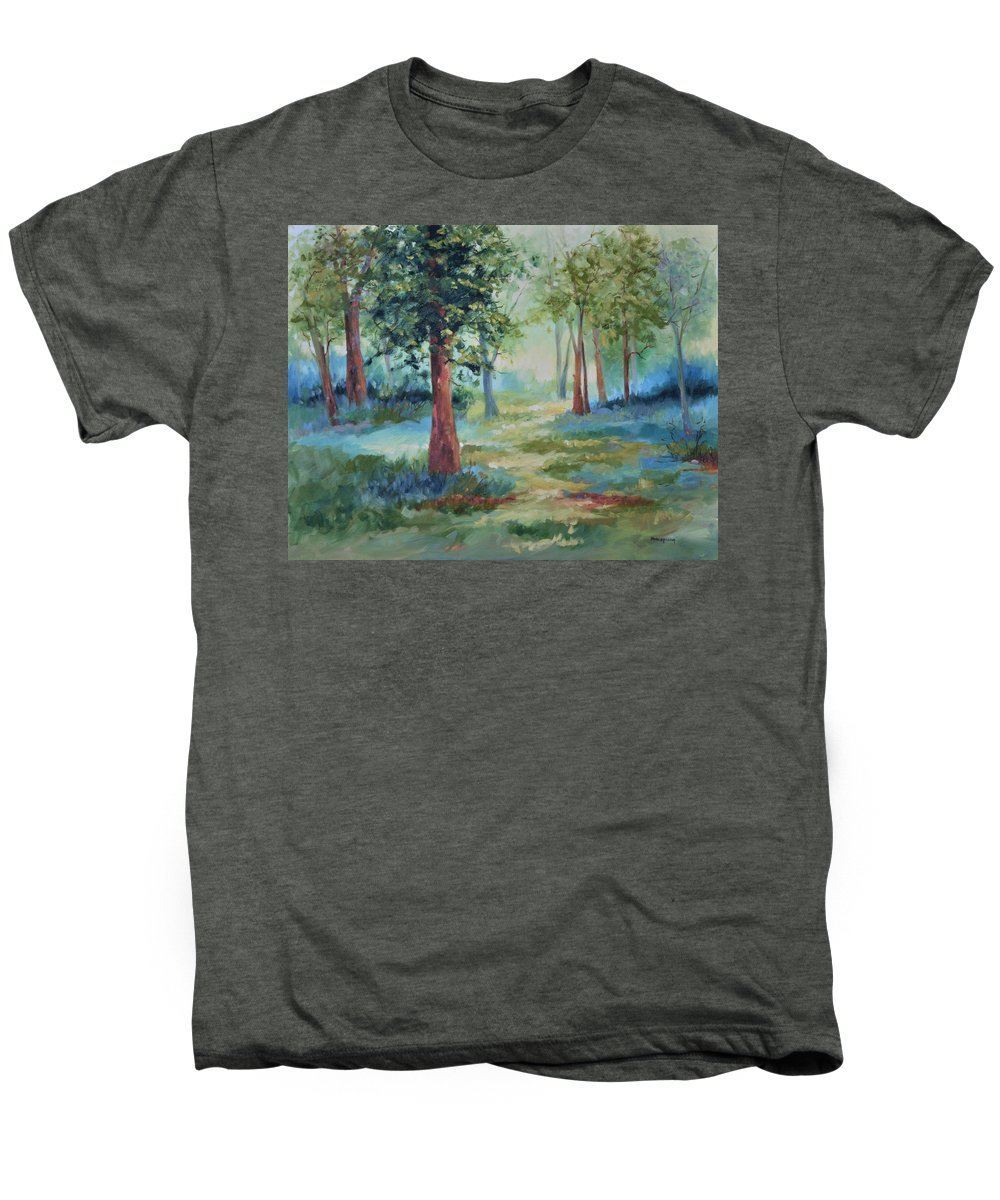 Trees Men's Premium T-Shirt featuring the painting A Path Not Taken by Ginger Concepcion