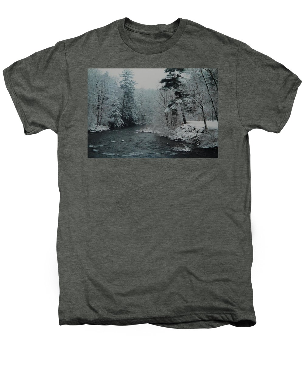 B&w Men's Premium T-Shirt featuring the photograph A Winter Waterland by Rob Hans
