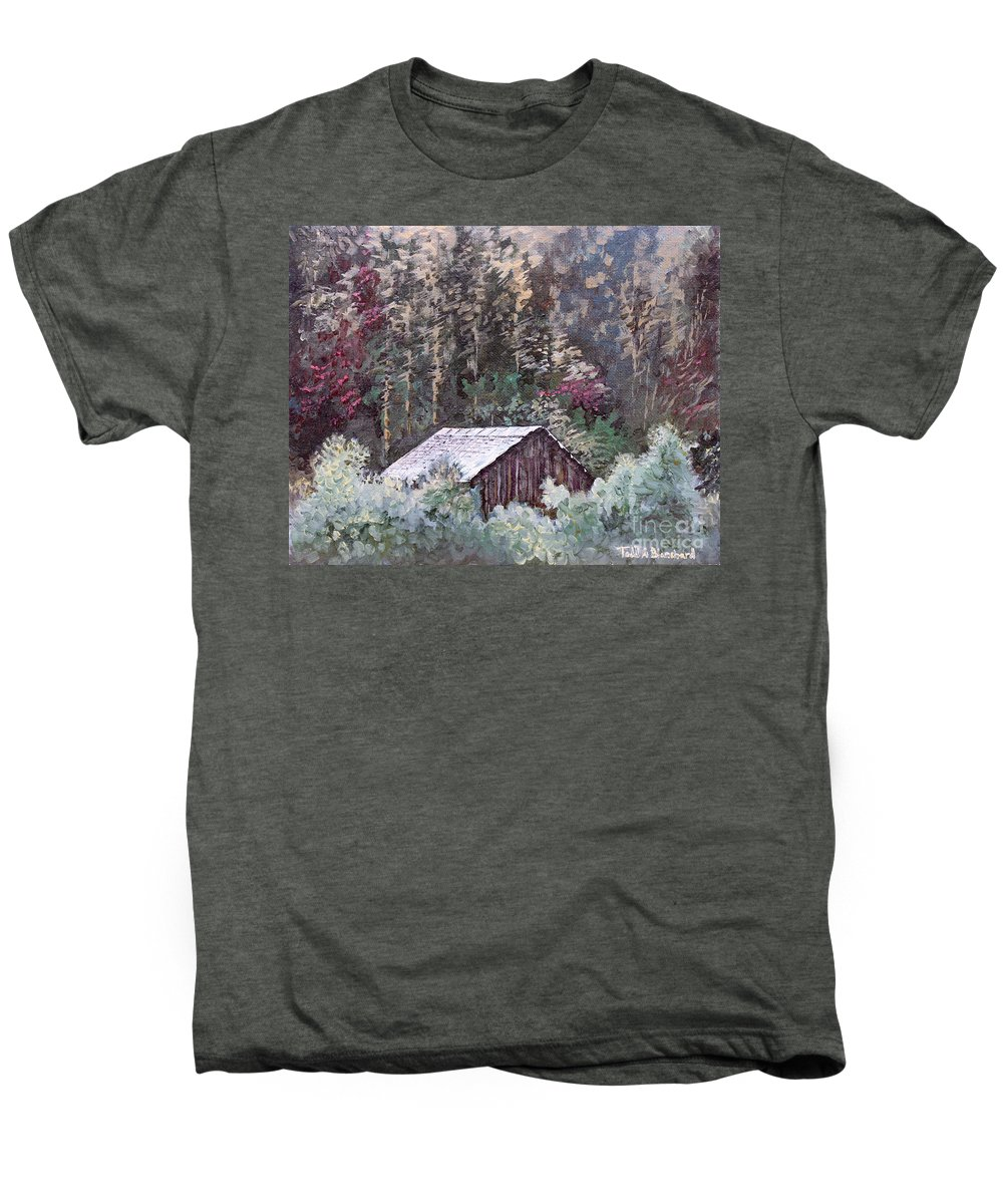 Landscape Men's Premium T-Shirt featuring the painting Barn At Cades Cove by Todd A Blanchard
