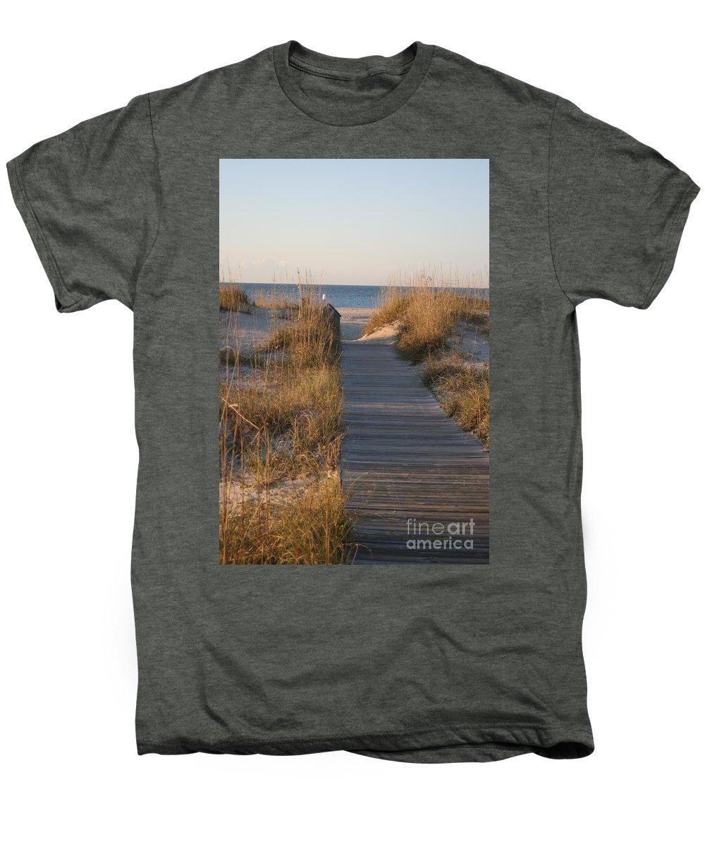 Boardwalk Men's Premium T-Shirt featuring the photograph Boardwalk To The Beach by Nadine Rippelmeyer