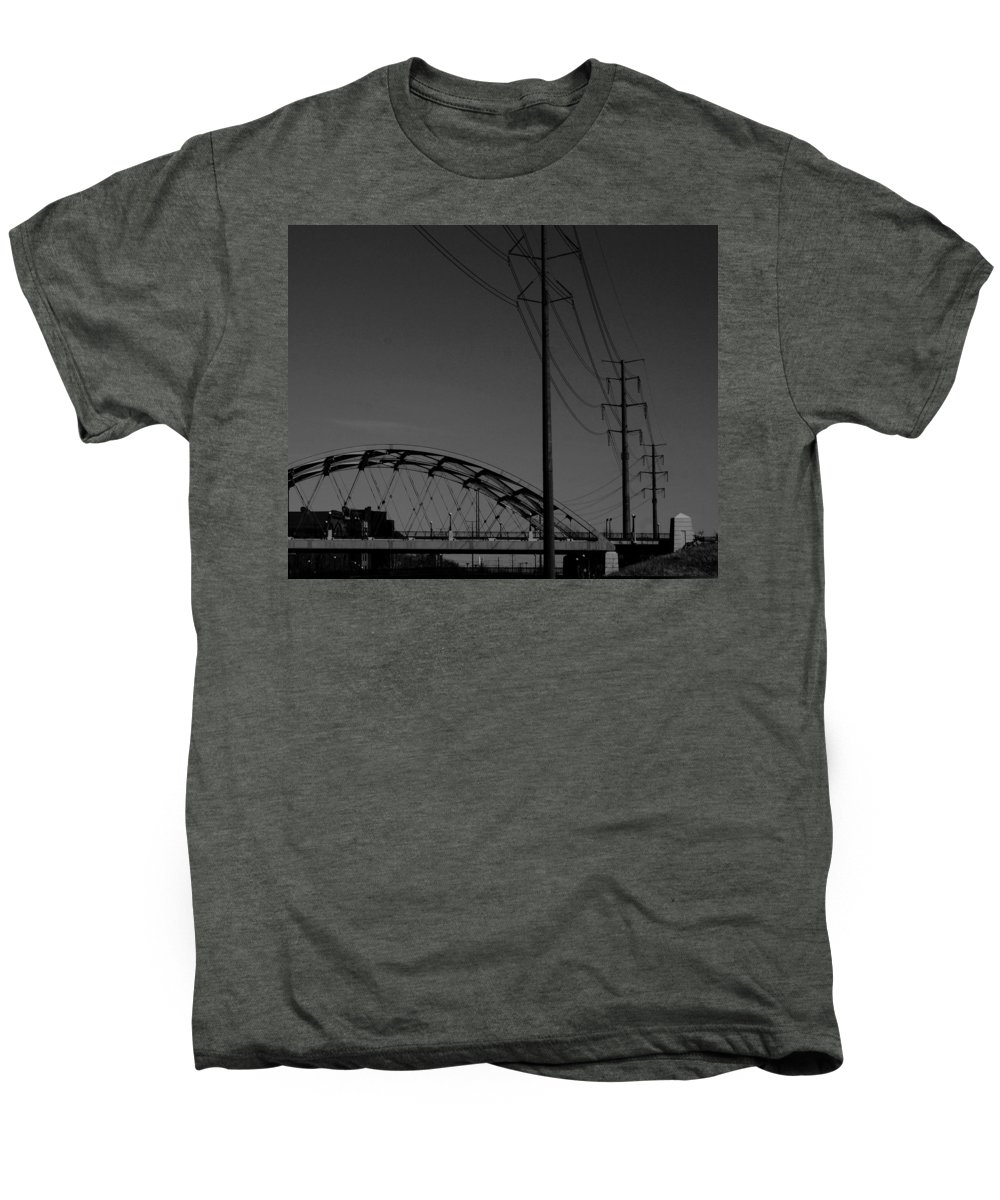 Metal Structures Men's Premium T-Shirt featuring the photograph Bridge And Power Poles At Dusk by Angus Hooper Iii