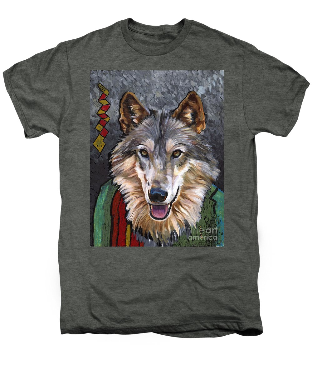 Wolf Men's Premium T-Shirt featuring the painting Brother Wolf by J W Baker