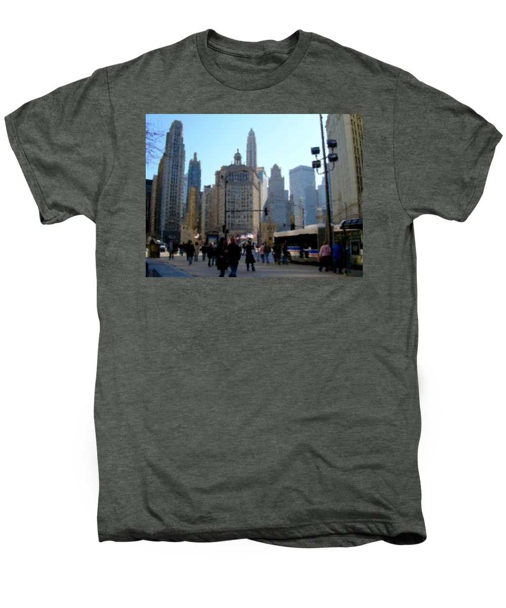 Archtecture Men's Premium T-Shirt featuring the digital art Bus On Miracle Mile by Anita Burgermeister