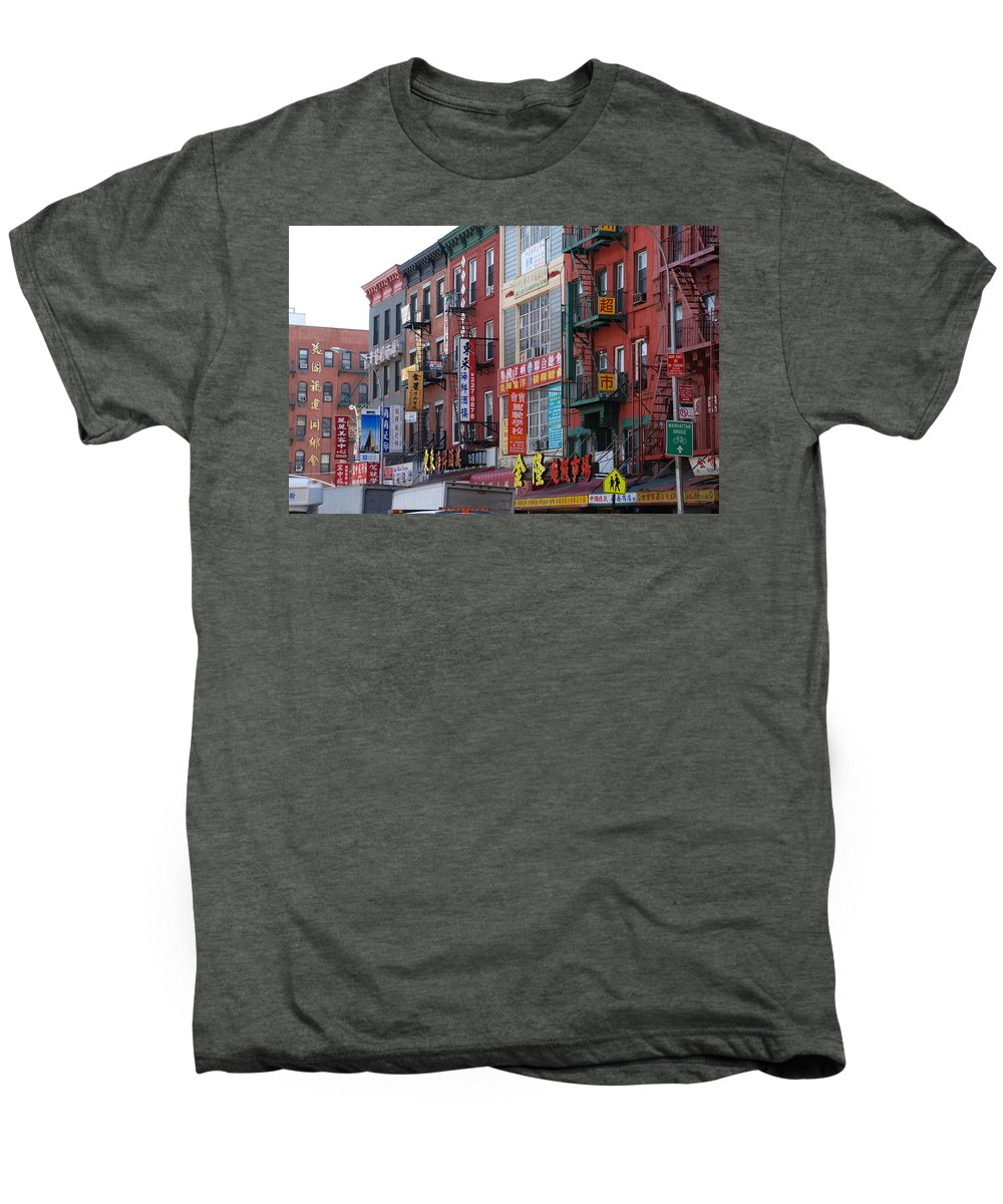 Architecture Men's Premium T-Shirt featuring the photograph China Town Buildings by Rob Hans