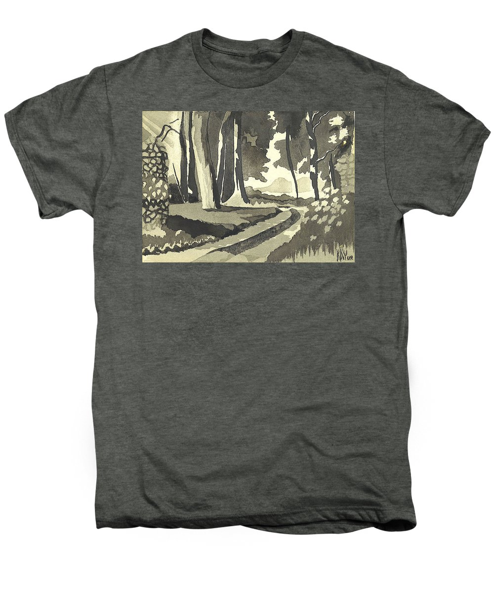 Rural Men's Premium T-Shirt featuring the painting Country Lane In Evening Shadow by Kip DeVore