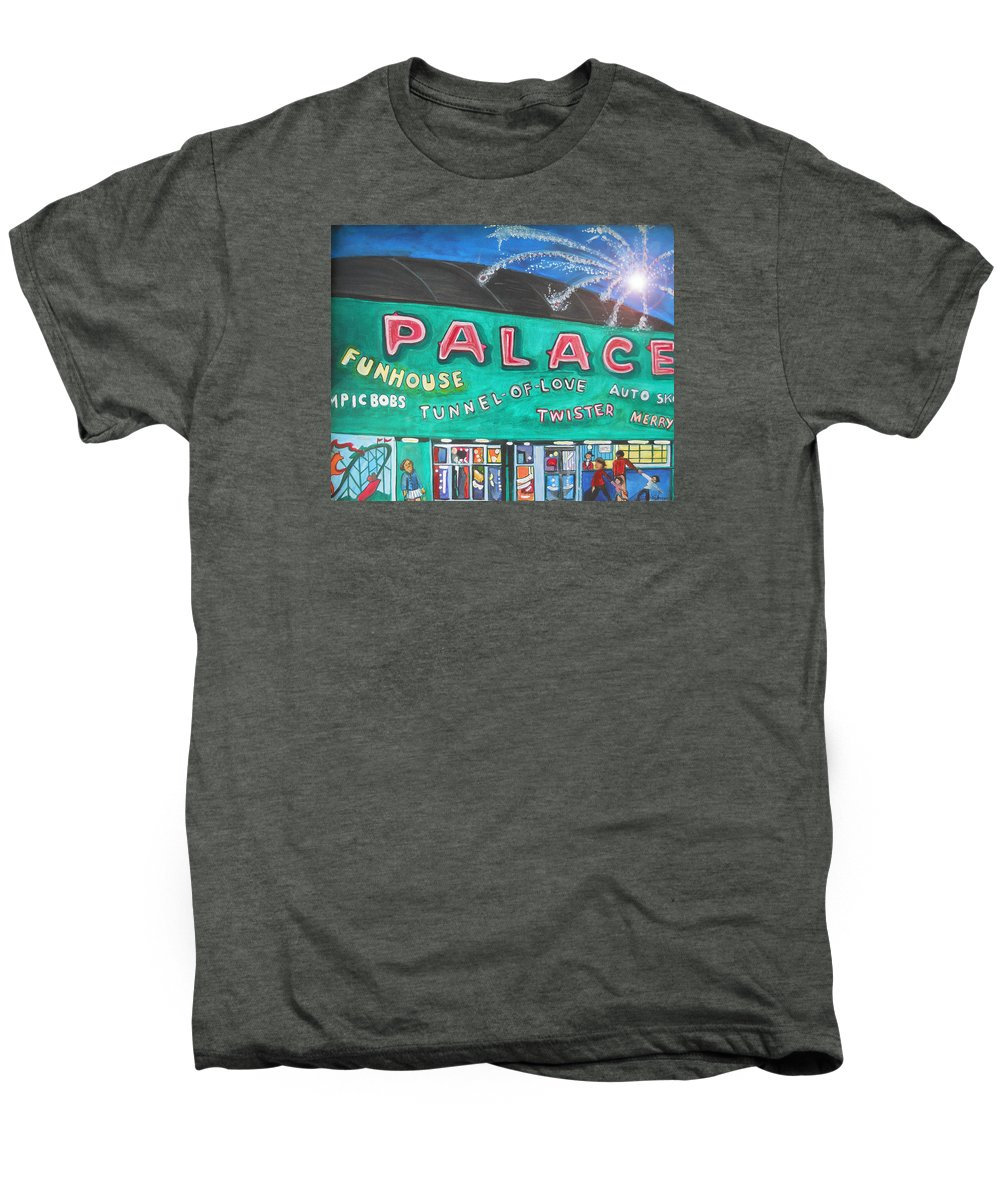 Asbury Park Art Men's Premium T-Shirt featuring the painting Fireworks At The Palace by Patricia Arroyo