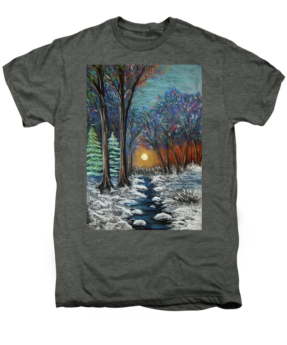 Snow Men's Premium T-Shirt featuring the pastel First Snow by Nancy Mueller