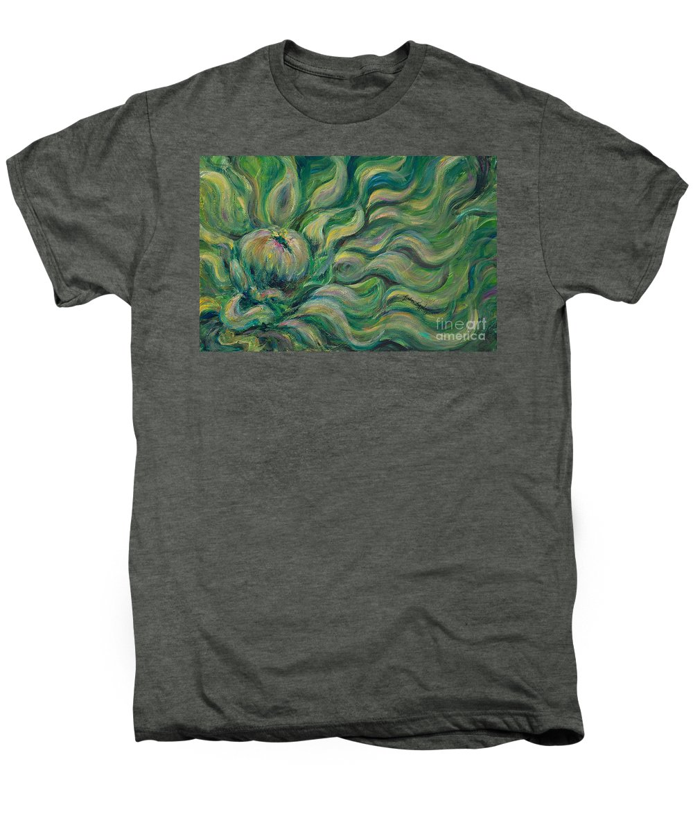 Green Men's Premium T-Shirt featuring the painting Green Flowing Flower by Nadine Rippelmeyer