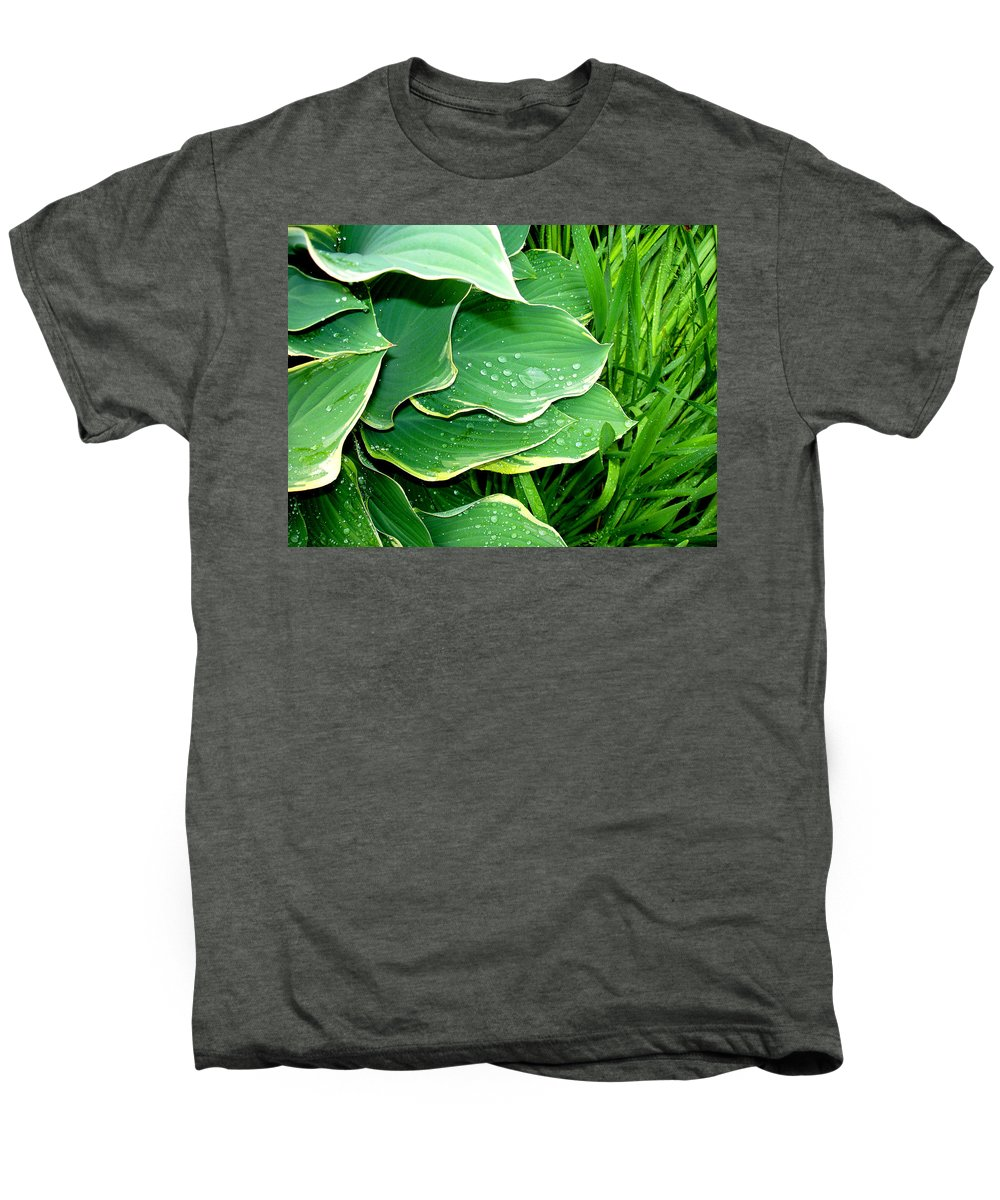 Hostas Men's Premium T-Shirt featuring the photograph Hosta Leaves And Waterdrops by Nancy Mueller