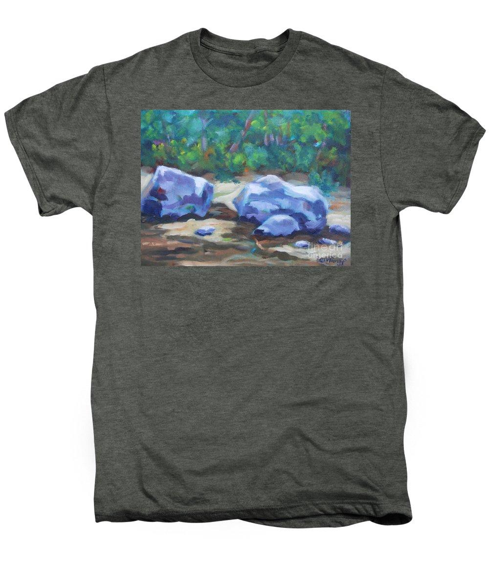 Expressionist Landscape Men's Premium T-Shirt featuring the painting Lindenlure by Jan Bennicoff