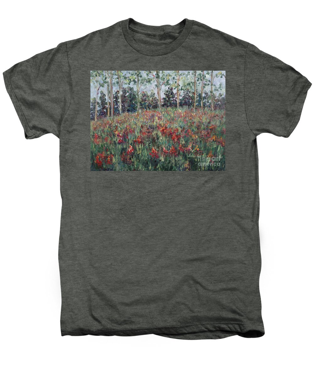 Landscape Men's Premium T-Shirt featuring the painting Minnesota Wildflowers by Nadine Rippelmeyer