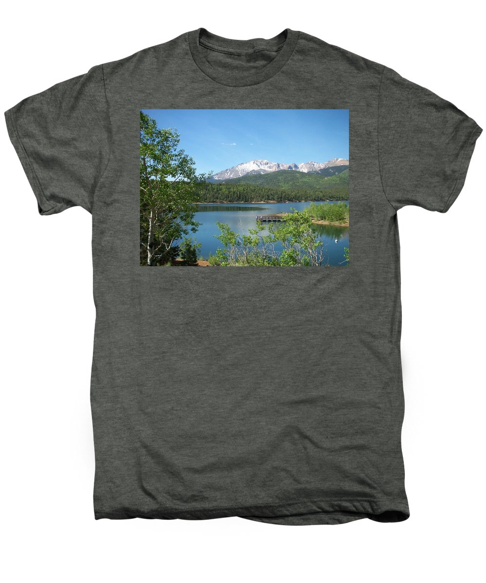 Colorado Men's Premium T-Shirt featuring the photograph Pike's Peak by Anita Burgermeister
