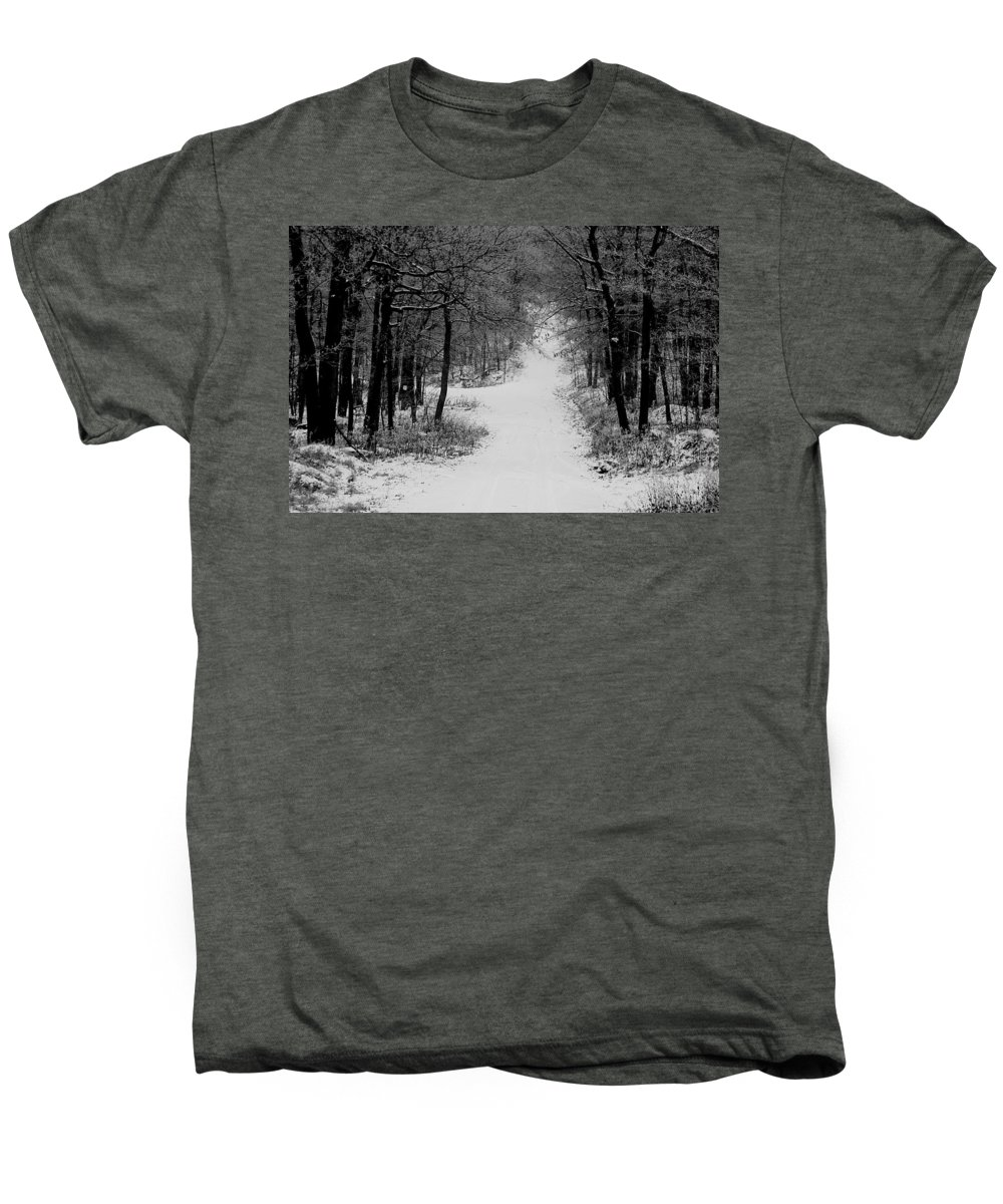 Snow Men's Premium T-Shirt featuring the photograph See Where It Leads. by Jean Macaluso