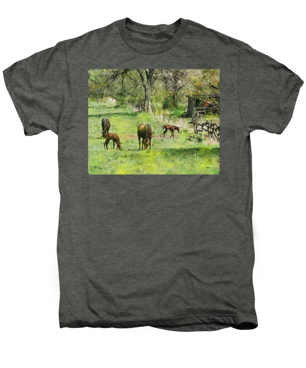 Spring Colts Men's Premium T-Shirt featuring the digital art Spring Colts by John Beck